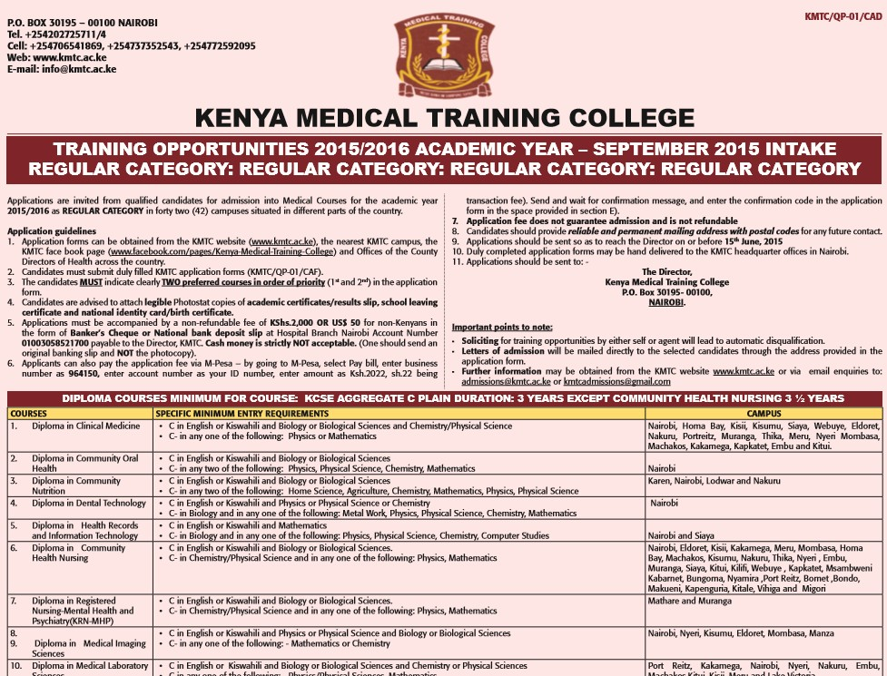 Kenya medical training college admissions kmtc kenyayote thecheapjerseys Images