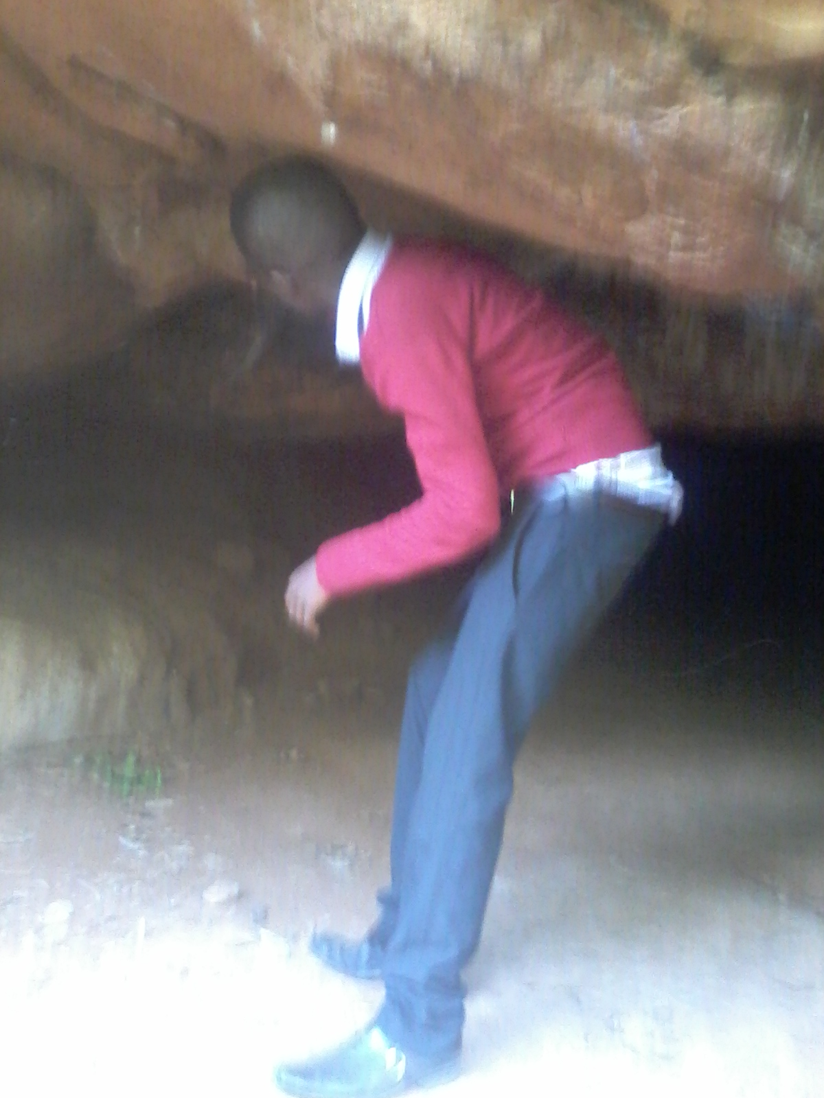 That is me inside a cave in Oloolua Nature Trail. The place is located in Karen Nairobi. Entrance fee is ksh. 200. A very good place for nature walk and adventure. If you are in Nairobi take route 24 from Railways bus station and you will arrive at Karen.  It is a 20 minutes walk distance from Karen.