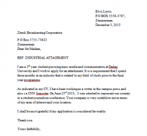 sample industrial attachment application letter