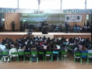 Students at the Moi University Student during the opening of Cultural week