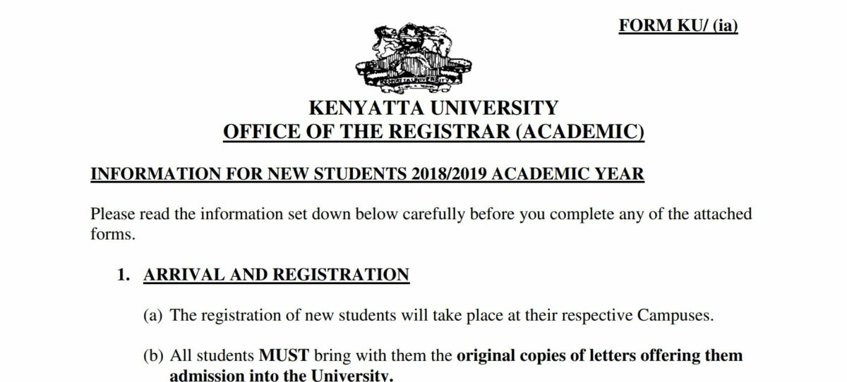 Update on Kenyatta University KUCCPS students Admission letters, 2019