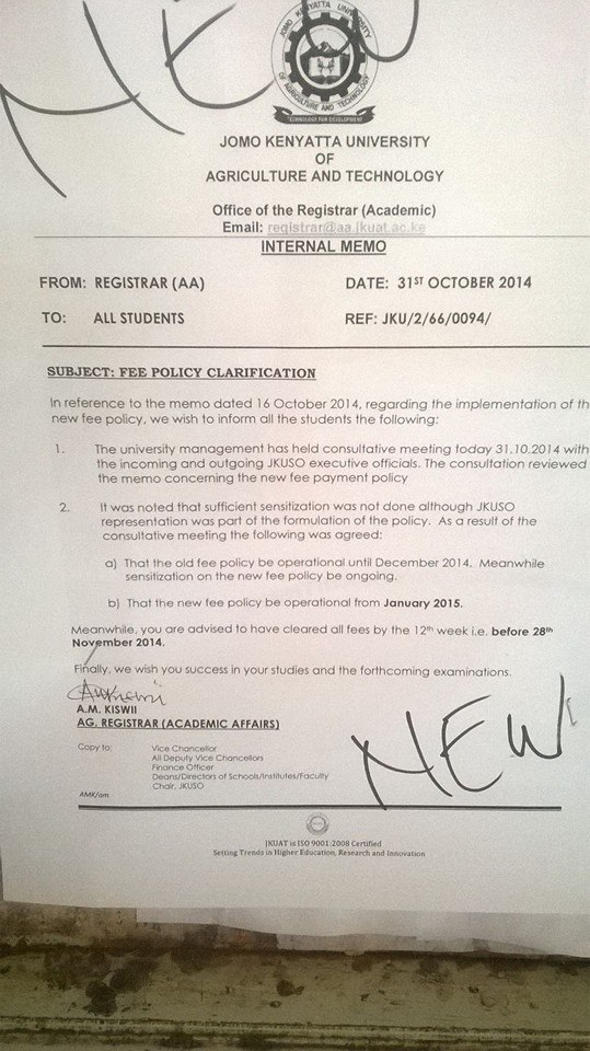 jkuat fee memo that led to riot
