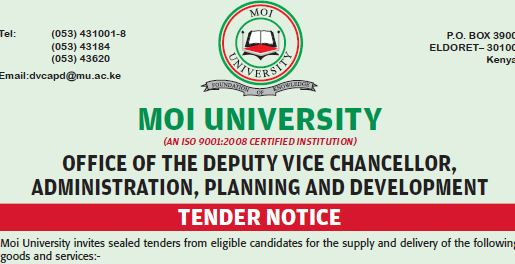 Moi University invites sealed tenders from eligible candidates for the ...