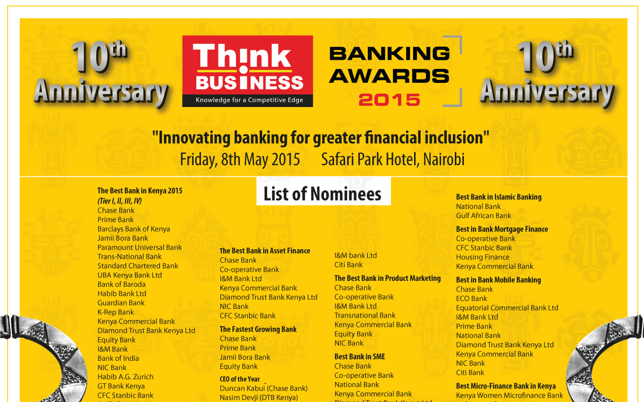 Full list of Think Business Baking Awards 2015 winners: Best Banks In Kenya 2015