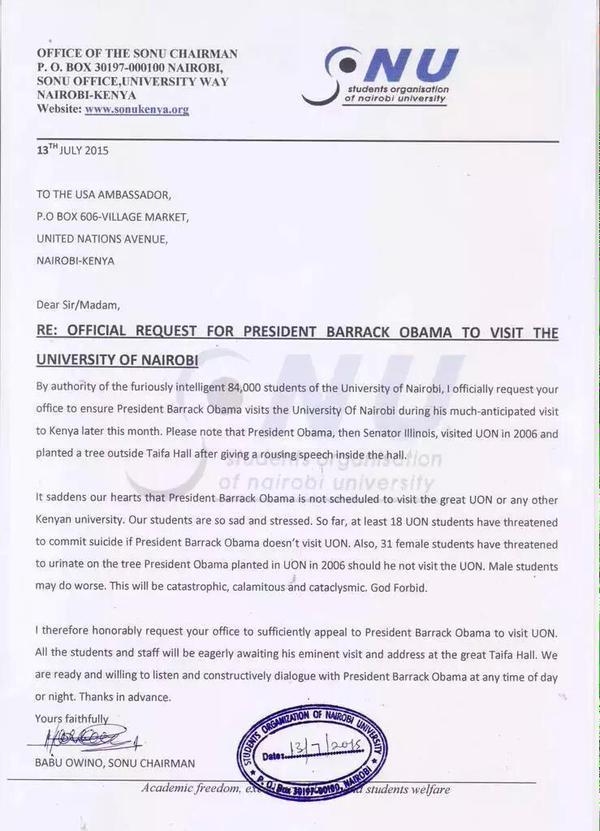 President uhuru kenyatta warns babu owino on barack obama university read letter below babu owno letter to barack obama spiritdancerdesigns Gallery