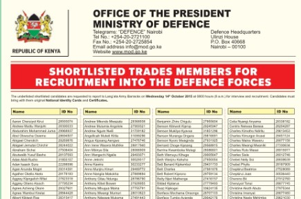 Shortlisted candidates for recruitment into the defence forces