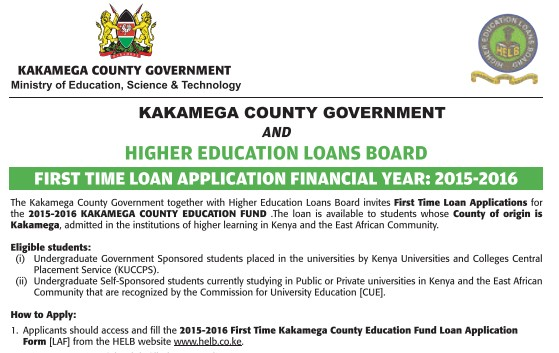 Apply For Kakamega County Government Student Loan: Applications