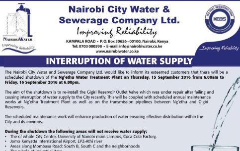 Water Supply Notice