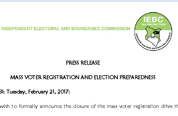 iebc mass voter registration per county