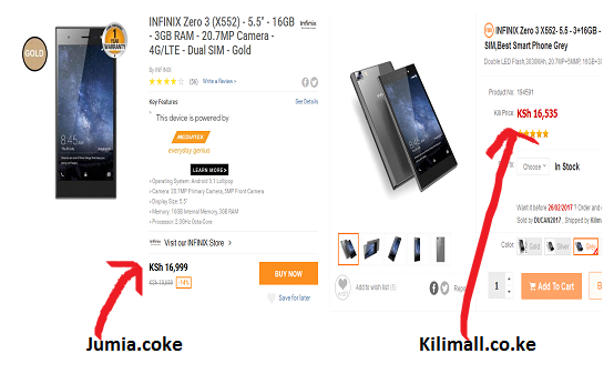 kilimall vs Kilimall product comparisons