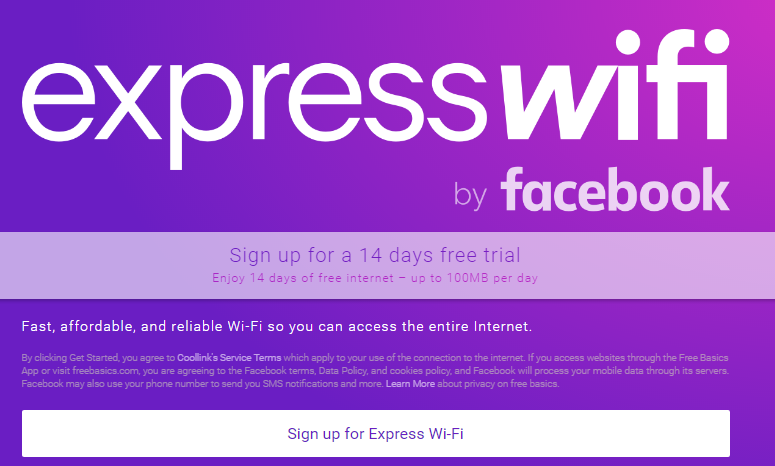Express WiFi by Facebook in Nairobi, Kenya: How to get Free Data