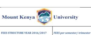 MKU mount kenya university fee structure per semester