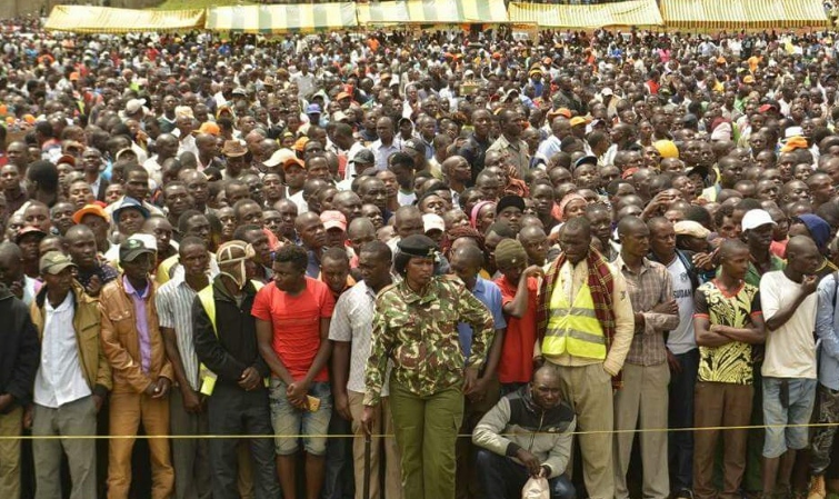 Crowd of NASA supporters in Kisii Stadium following the rally proceedings