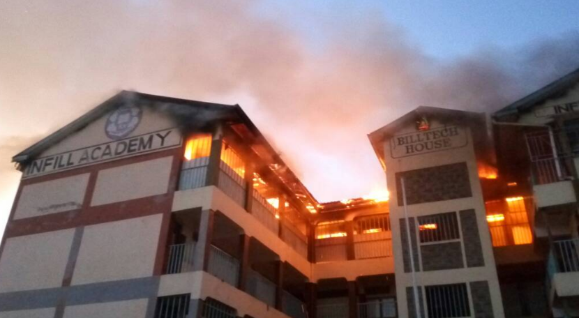 Infill Academy building consumed fire, deaths reported