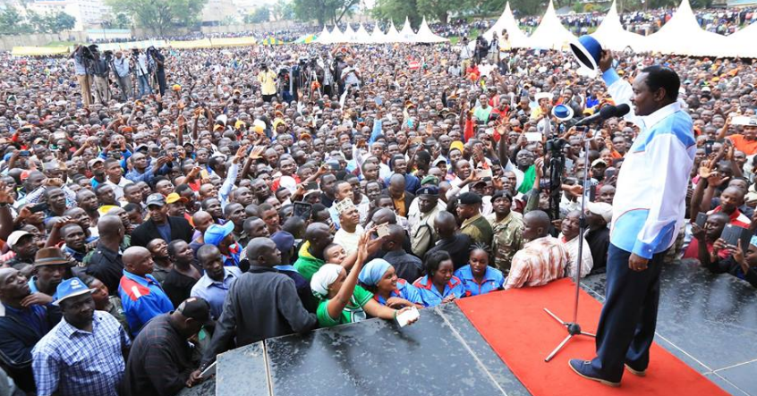 Kalonzo addressing NASA rally in Kisii