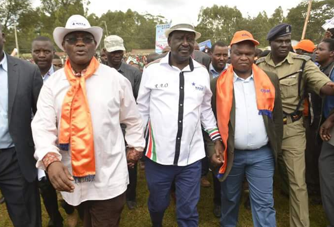 Kisii Governor James Ongwae and Deputy Governor Maangi arriving with Raila Odinga at Kisii Stadium