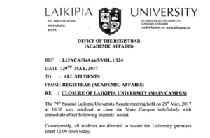Laikipia University closed, due to student protest over fee increase