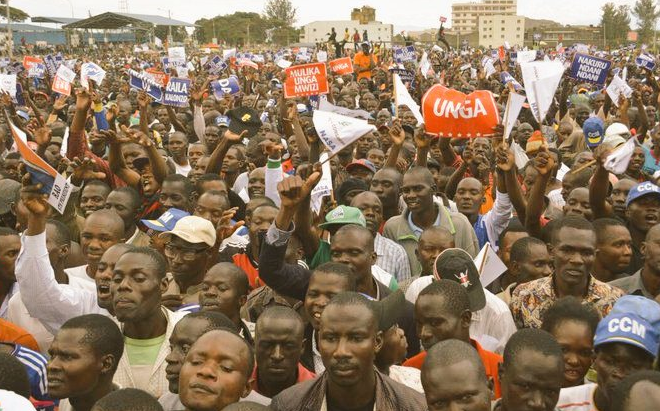 NASA supporters in Nakuru with banners of demand Unga price reduction