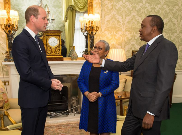 Photo of Prince William at Buckingham Palace, London with President Uhuru Kenyatta and first lady Margaret Gakuo Kenyatta