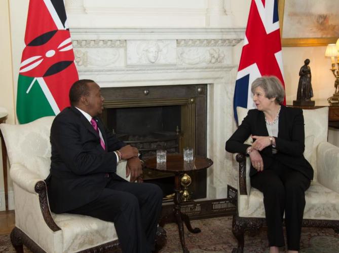 President Uhuru Kenyatta with British PM Theresa May in London, May 2017