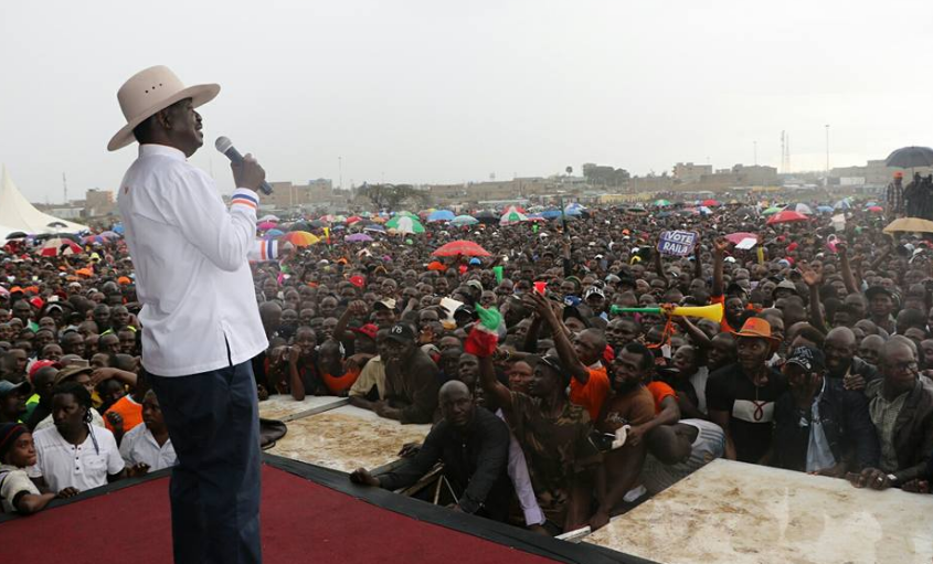 Raila speaking in Jacaranda grounds during NASA rally
