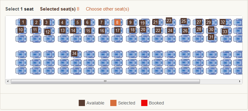 Booking SGR Madaraka Express Train Online. Image shows seats available and i have booked 8