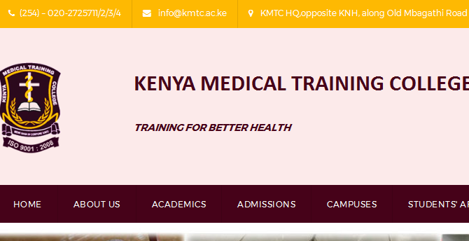 KMTC list of successful candidates for September 2017/2018 Intakes, Selected students for admission