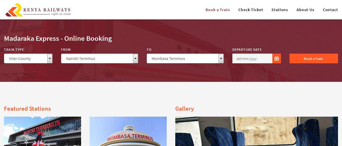 Official Website to book SGR Madaraka Express Train Ticket