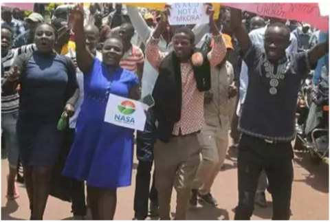 Protestors march in support of Maraga