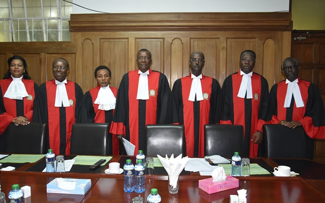 Kenya Supreme Court Judges from Left, Justices Njoki Ndungu, Jackton Ojwang, Philomena Mwilu (Deputy Chief Justice),David Maraga (Chief Justice), Mohammed K. Ibrahim, Smokin Wanjala and Isaac Lenaola