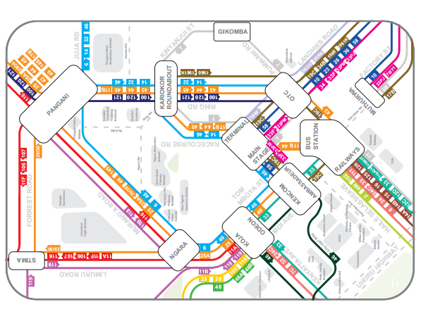 All Matatu Route Numbers in Nairobi City, Kenya:  Stage Map for public transport