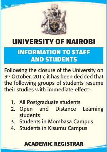 University of Nairobi gazatte notice of school re-opening dates after closure due to protests