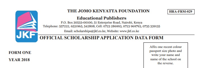 Jomo Kenyatta Foundation Scholarship Form For  Form One