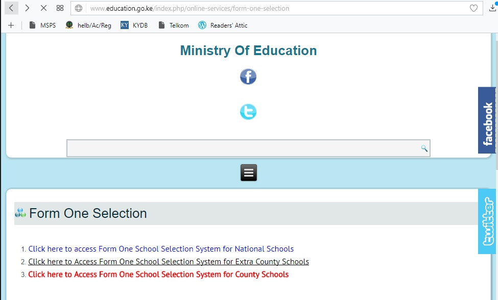 Categories of Secondary Schools selected