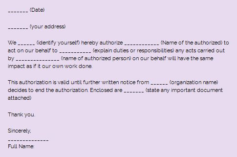 Sample Authorization letter and how write an authorization letter