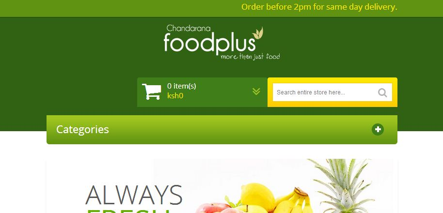 order for fresh foods at Chandarana and have them delivered to you within in nairobi in 24 hours