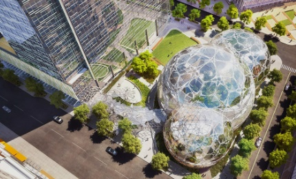 Aerial view of the Amazon Spheres