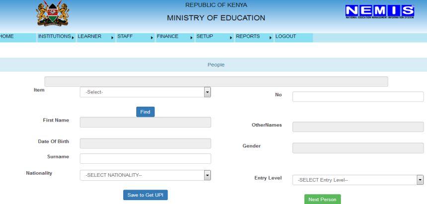 Kenya Ministry of education NEMIS system for registration of learners