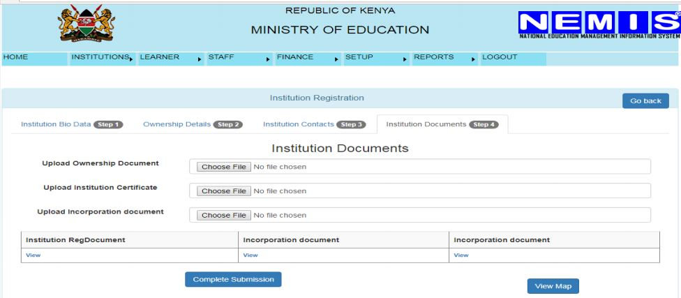 NEMIS institution ownership documents