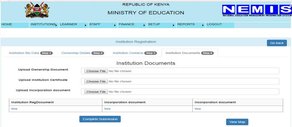 NEMIS institution ownership documents