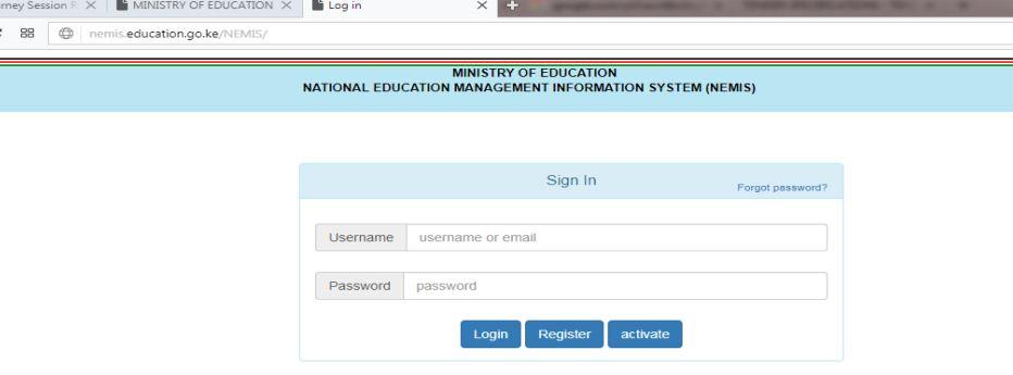 NEMIS education login page