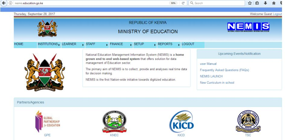 Nemis education student registation home page