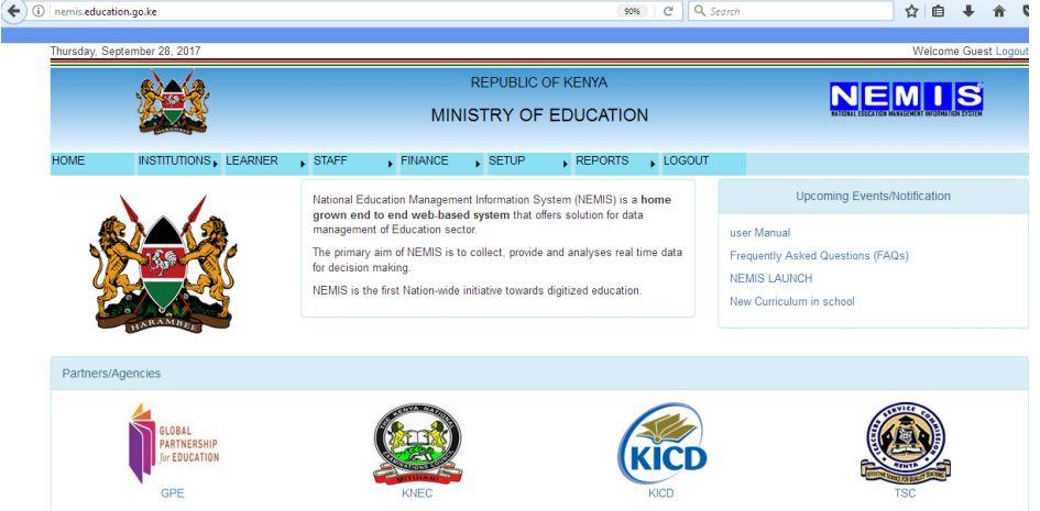 Nemis education student registation home page