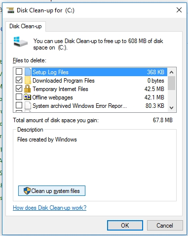 Disk Clean-up option