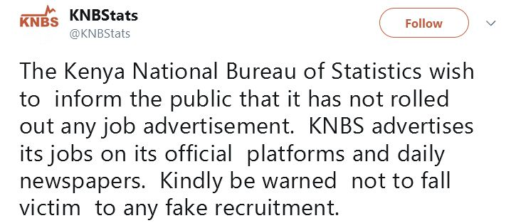 KNBS on the fake Census 2018 jobs advert
