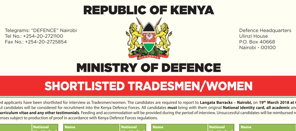 List of shortlisted candidates as tradesmen women for interviews list of shortlisted candidates as tradesmen and tradeswomen for interviews kdf 2018 recruitment fandeluxe Images