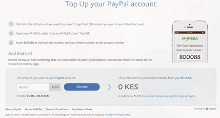 Mpesa Paybill to Paypal deposit Kenya shillings to dollars calculator
