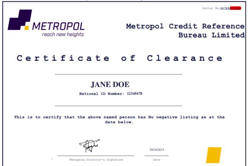 Metropol sample CRB Clearance certificate