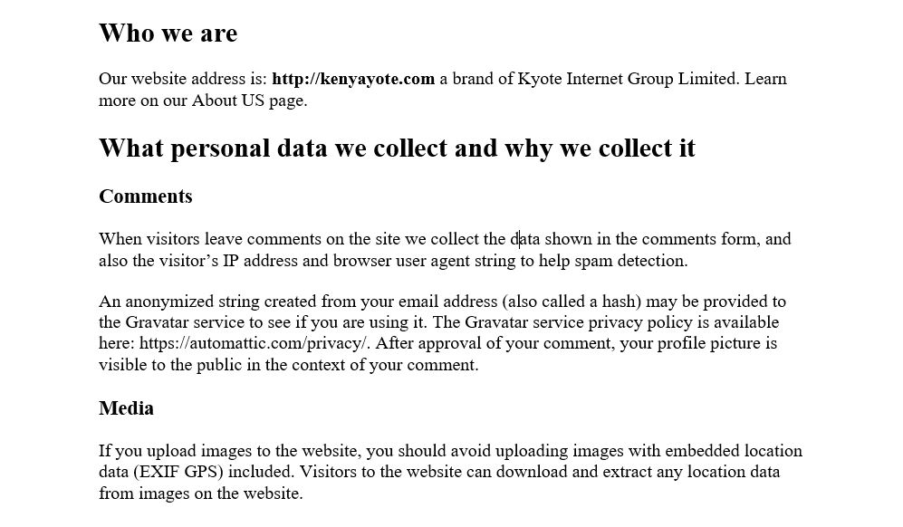 Sample GDPR Privacy Policy Page And How To Write One Template - Data protection and privacy policy template