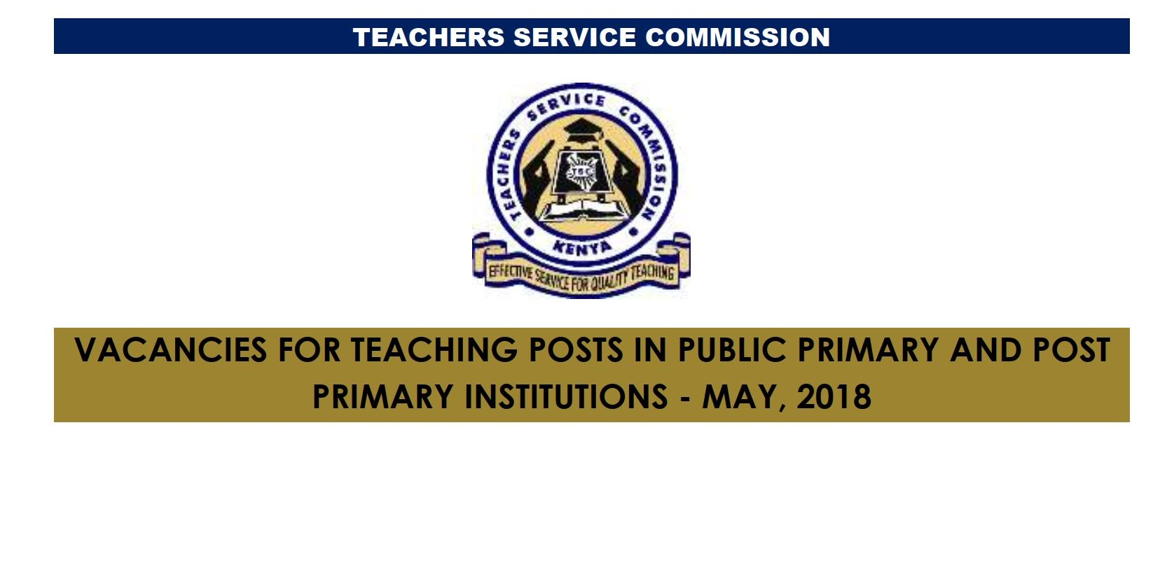 TSC May 2018 Job Vacancies (8,672) for Primary and Post Primary teachers